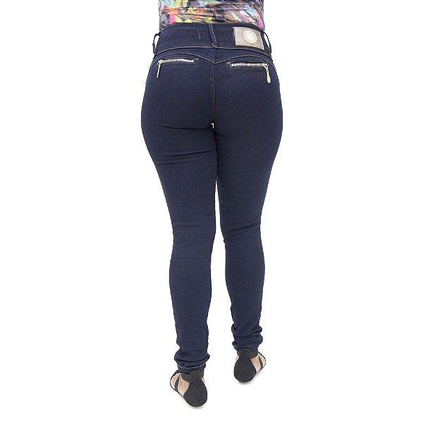Calça Jeans Feminina Legging Deerf Azul Marinho Levanta Bumbum