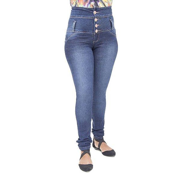 Calça Jeans Feminina Legging Corpete Deerf Azul Levanta Bumbum