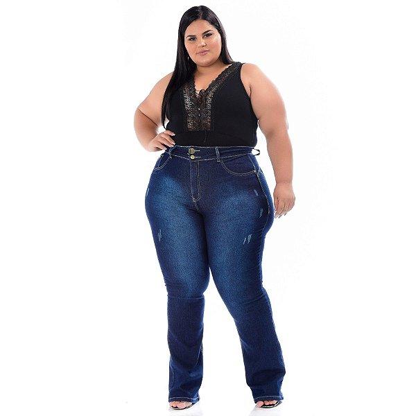 Calça Jeans Xtra Charmy Plus Size Flare Onilda Azul