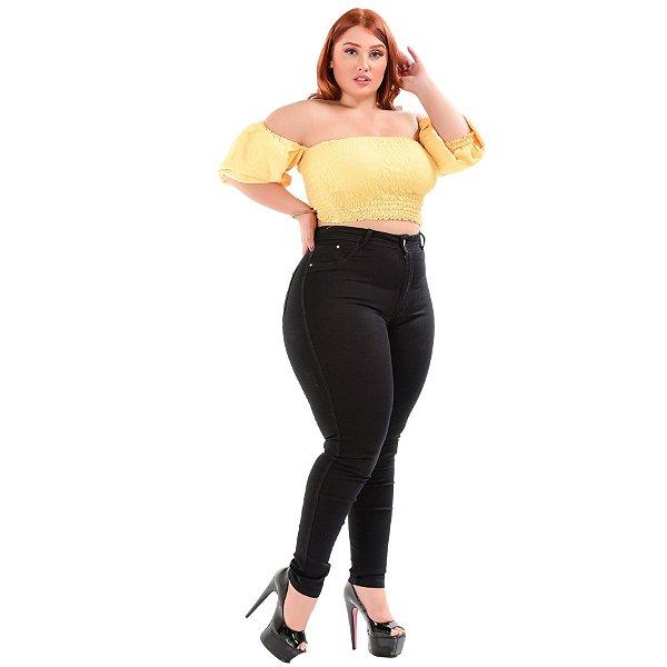 Calça Jeans Latitude Plus Size Skinny Keily Preta