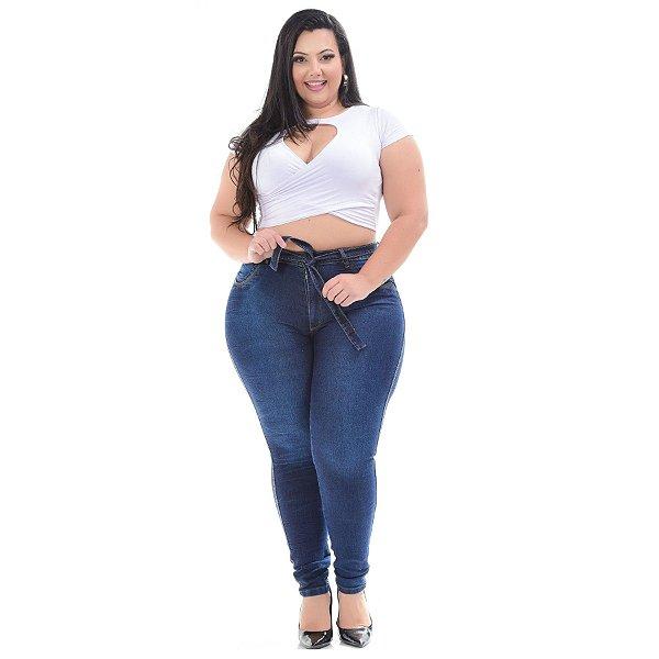 Calça Jeans Latitude Plus Size Skinny Andrilia Azul