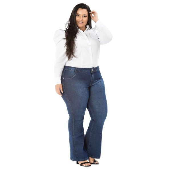 Calça Jeans Credencial Plus Size Flare Fellycia Azul