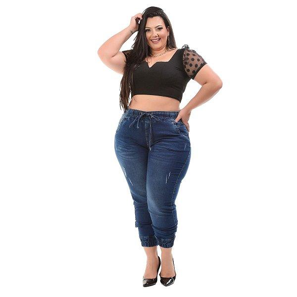 Calça Jeans Xtra Charmy Plus Size Jogger Cremildes Azul