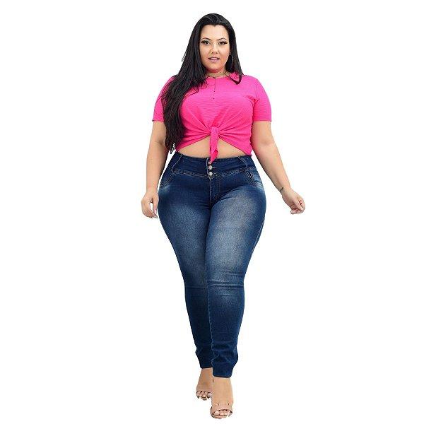Calça Jeans Credencial Plus Size Skinny Espedita Azul