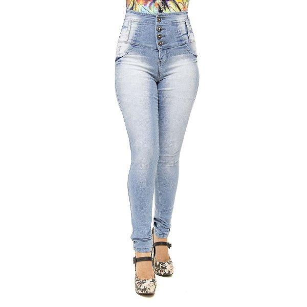 Calça Jeans Feminina Legging Credencial Modelo Corpete Cintura Alta