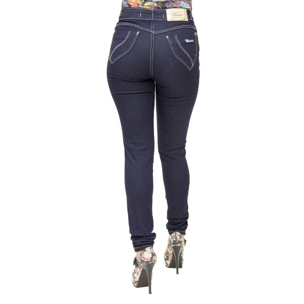 Calça Jeans Legging Feminina Cheris Azul Escura Cintura Alta