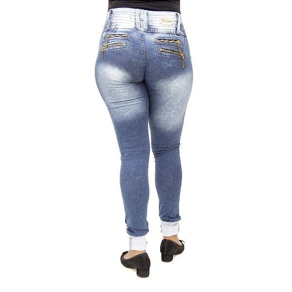 Calça Jeans Legging Feminina Cheris Azul Manchada Levanta Bumbum