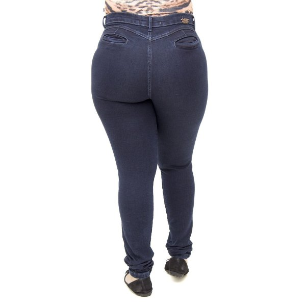 Calça Jeans Feminina Legging Helix Escura Plus Size Hot Pants Cintura Alta