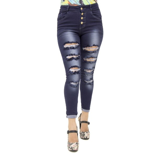 Calça Jeans Feminina Legging Meitrix Rasgada Hot Pants Cintura Alta