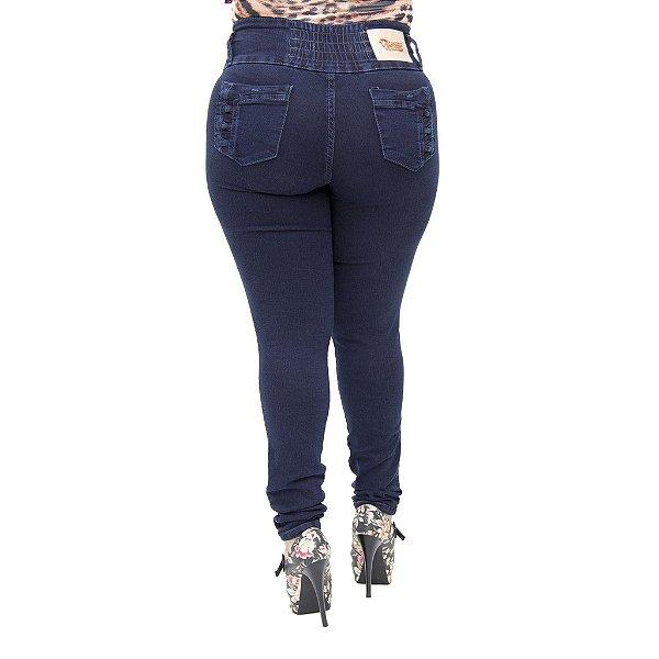 Calça Jeans Legging Feminina Hevox Plus Size Cintura Alta com Elástico