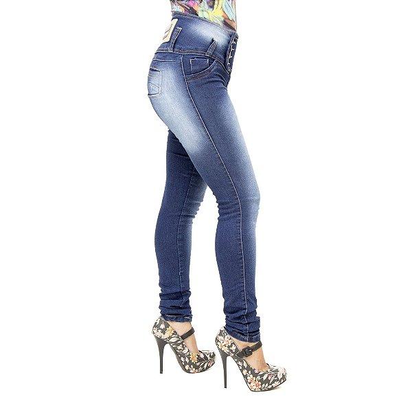 Calça Jeans Feminina Legging Thomix Azul Manchada Levanta Bumbum