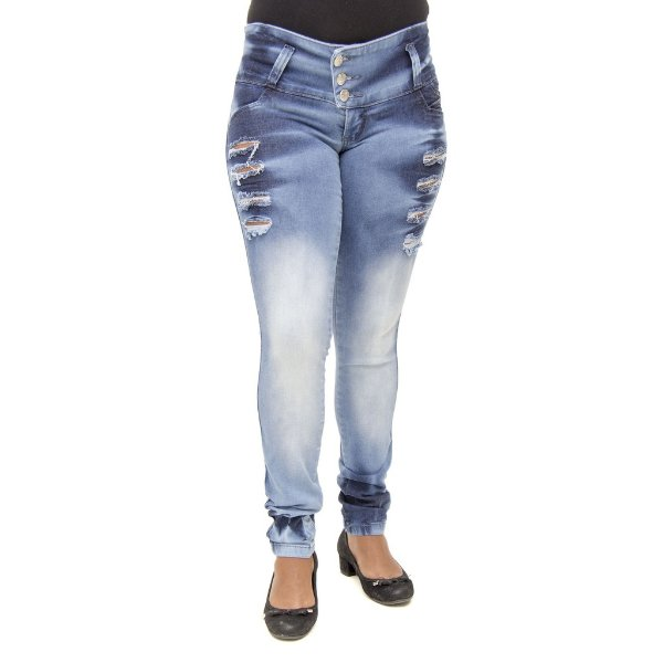 Calça Jeans Feminina Legging Thomix Rasgada Levanta Bumbum com Elástico