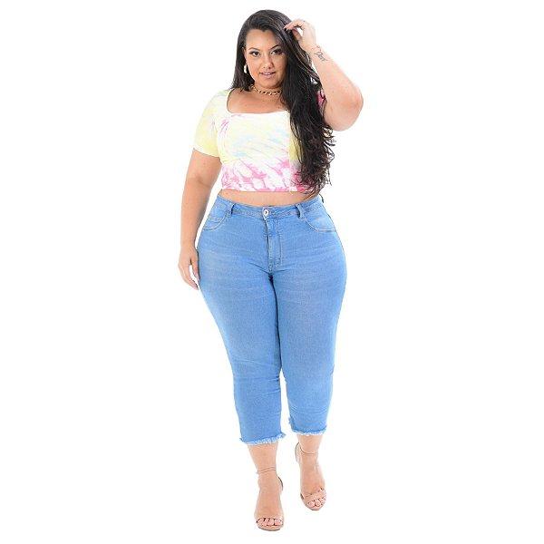 Calça Jeans Cambos Plus Size Capri Josevania Azul