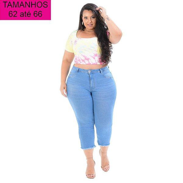 Calça Jeans Cambos Plus Size Capri Noracia Azul
