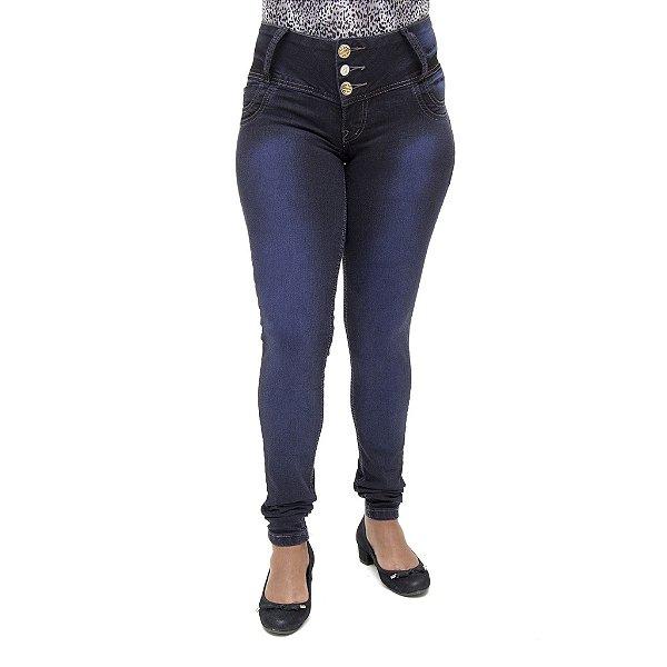 Calça Jeans Feminina Legging Cheris Azul Escura Cintura Média