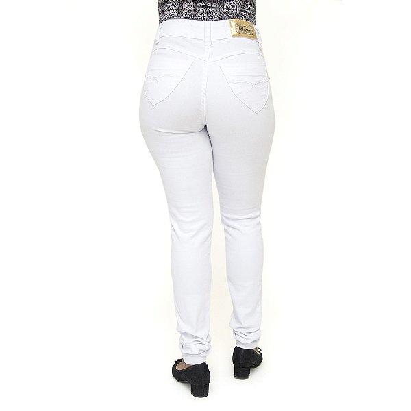 Calça Jeans Feminina Legging Cheris Hot Pant Branca Cintura Alta