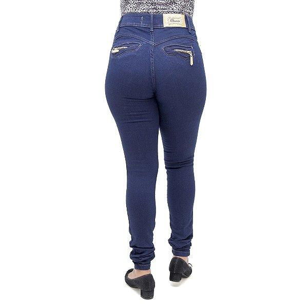 Calça Jeans Feminina Legging Cheris Hot Pants Azul Escura Cintura Alta