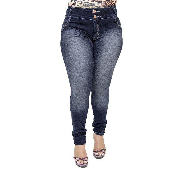 Calça Jeans Feminina Helix Modelo Legging Escura Plus Size Cintura Alta