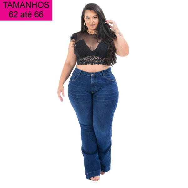 Calça Jeans Cambos Plus Size Flare Lauracy Azul