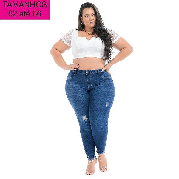 Calça Jeans Cambos Plus Size Capri Aureniz Azul