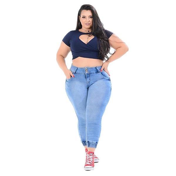 Calça Jeans Xtra Charmy Plus Size Capri Nery Azul