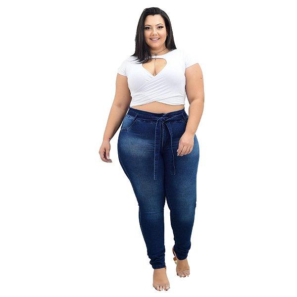 Calça Jeans Credencial Plus Size Clochard Leijane Azul