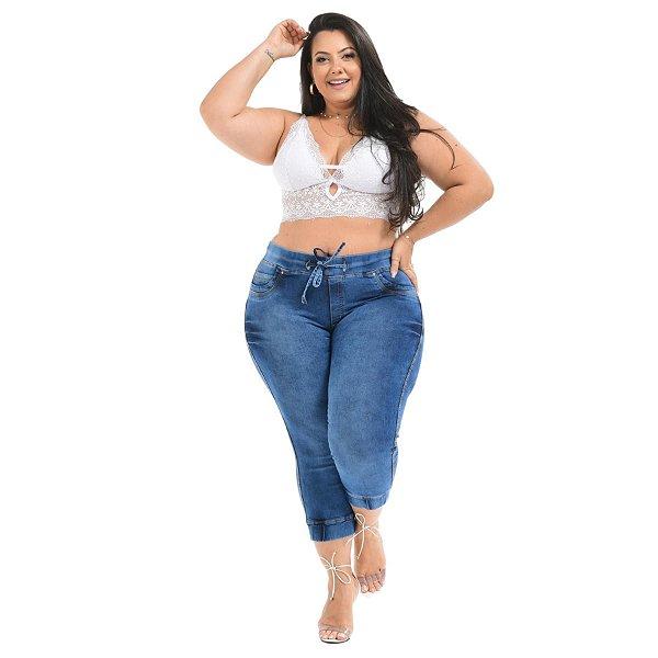Calça Jeans Latitude Plus Size Jogger Fabielle Azul