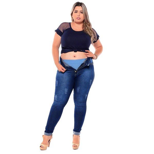 Calça Jeans Latitude Plus Size Skinny Adele Azul