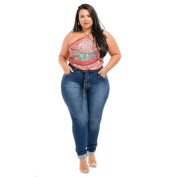 Calça Jeans Xtra Charmy Plus Size Skinny Silmeia Azul
