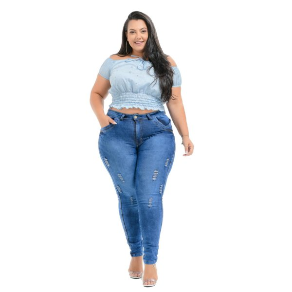 Calça Jeans Latitude Plus Size Skinny Jeania Azul