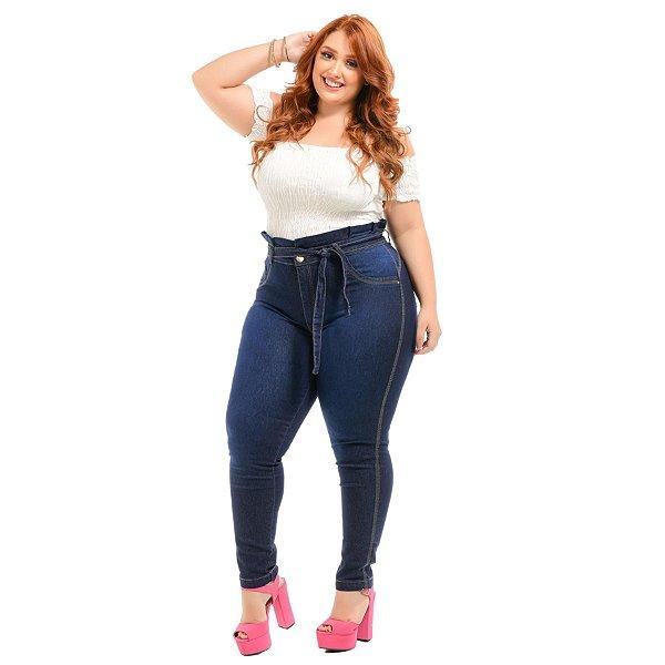 Calça Jeans Latitude Plus Size Clochard Wilda Azul