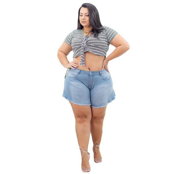 Shorts Jeans Leleh Plus Size Godê Laidy Azul