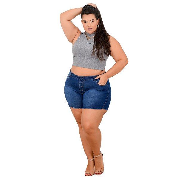 Shorts Jeans Leleh Plus Size Dagiele Azul