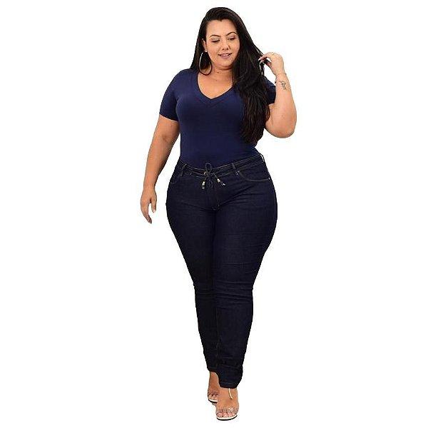 Calça Jeans Leleh Plus Size Reta Heleny Azul