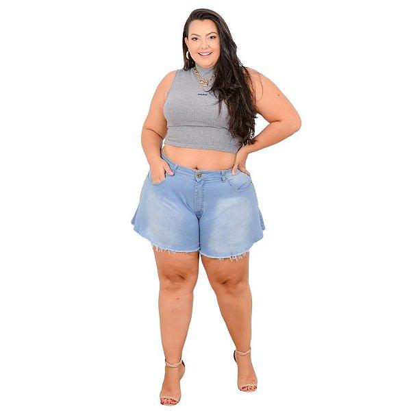 Shorts Jeans Leleh Plus Size Godê Nivelci Azul