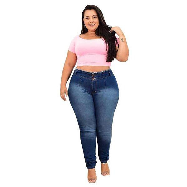 Calça Jeans Leleh Plus Size Skinny Weyla Azul