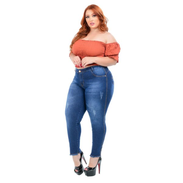 Calça Jeans Credencial Plus Size Cigarrete Noelen Azul