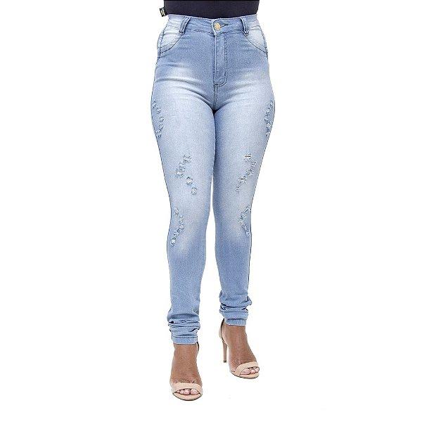 Calça Jeans Feminina S Planeta Hot Pant Rasgada com Cintura Alta