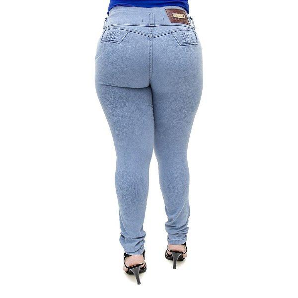 Calça Jeans Feminina Helix Legging Azul Plus Size Cintura Alta