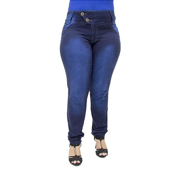 Calça Jeans Legging Feminina Helix Escura Plus Size Cintura Alta Levanta Bumbum