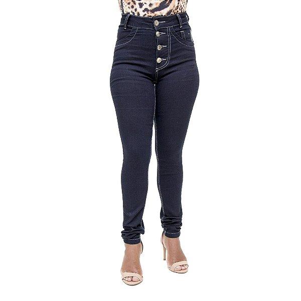 Calça Jeans Feminina Rackso Hot Pant Escura com Cintura Alta
