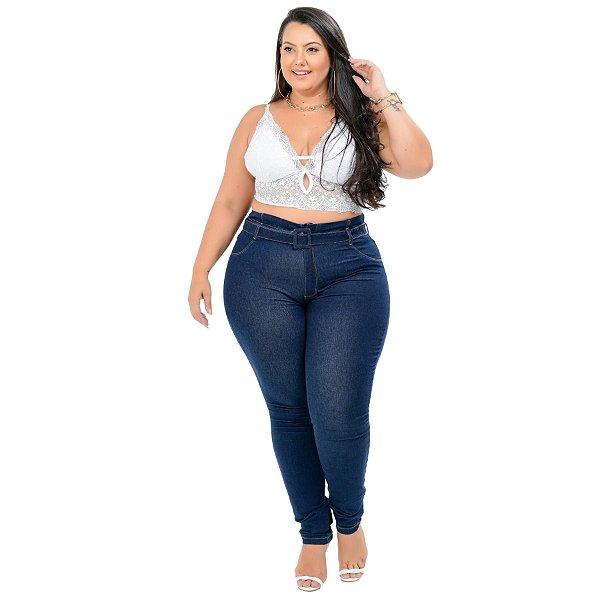 Calça Jeans Cambos Plus Size Skinny Nerei Azul