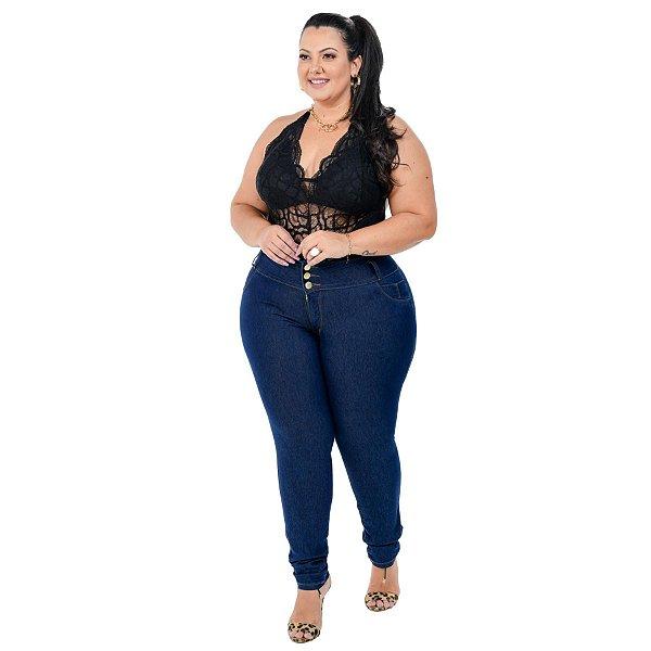 Calça Jeans Helix Plus Size Skinny Cleidimar Azul