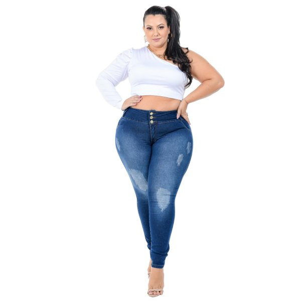 Calça Jeans Helix Plus Size Skinny Jacimeire Azul