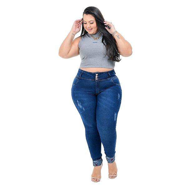 Calça Jeans Hevox Plus Size Skinny Roselangela Azul