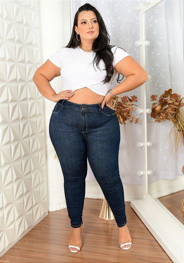 Calça Jeans Deerf Plus Size Skinny Netania Azul