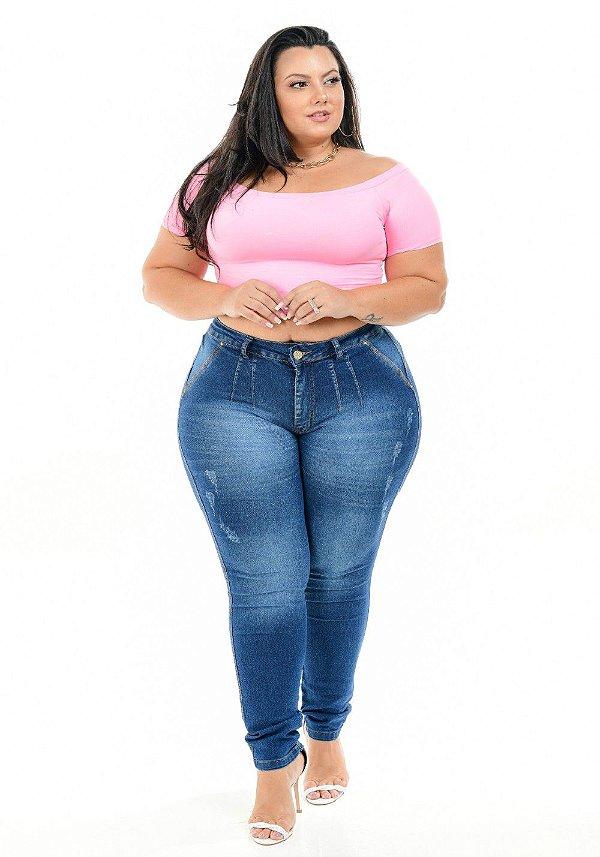 Calça Jeans Latitude Plus Size Skinny Rosmara Azul