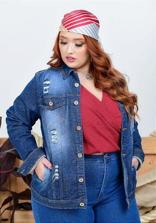 Jaqueta Jeans Xtra Charmy Plus Size Kaianne Azul