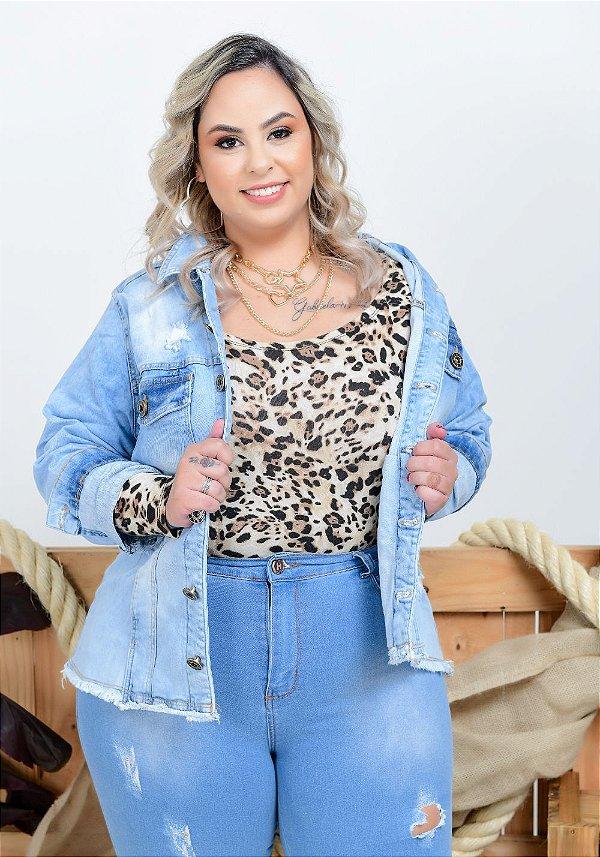 Jaqueta Jeans Xtra Charmy Plus Size Alcilea Azul