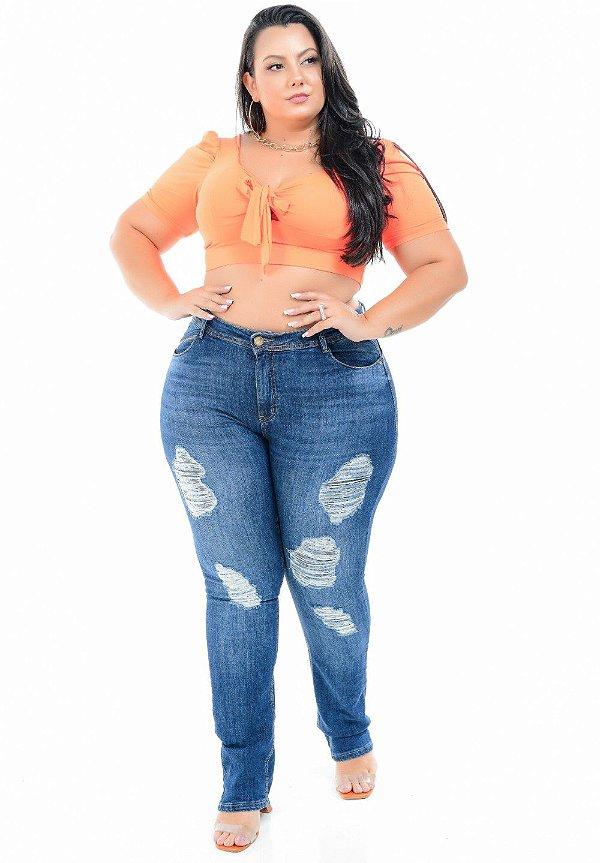 Calça Jeans Xtra Charmy Plus Size Reta Leomar Azul